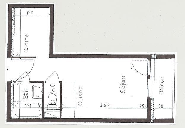 Planta do alojamento Locação Estúdio 59631 Les Menuires
