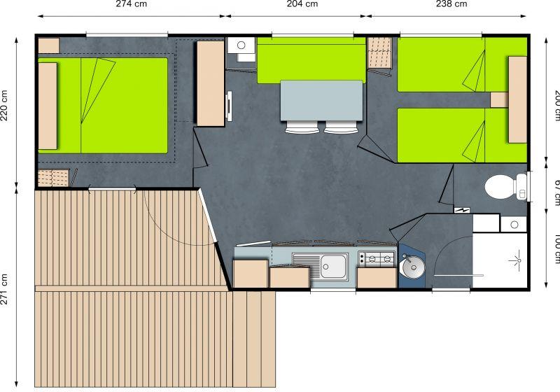 Planta do alojamento Locação Mobil Home 13330 Bayeux