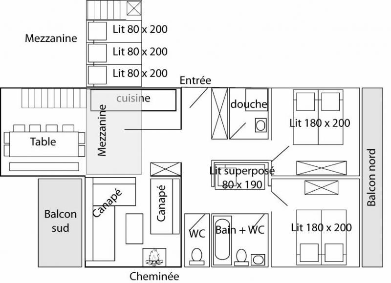 Planta do alojamento Locação Apartamentos 60012 Tignes